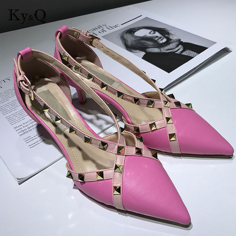 Tacón Nuevos Verano Cuero Sandalias black Europa Mujer Mujeres Zapatos De  Baotou Retro Remache Black pink ... 4032d11ad4dd