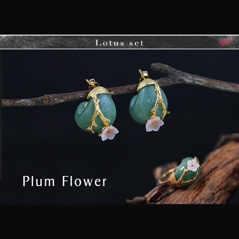 Lotus Fun реальные 925 серебро Натуральный камень творческий ручной Ювелирные украшения сливы цветок комплект ювелирных изделий с кольцо серьгу