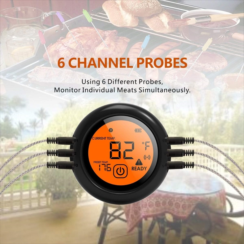 6 Probes Smart Bluetooth Thermometer Wireless Remote Digital BBQ Grill Barbecue Meat Food Cooking Smoker Thermometer