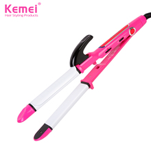 Cheaper Kemei New 2 in1 LCD display Flat Iron Straightening Irons hair curler Styling Tools Professional Hair Straightener Free Shipping