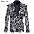 2017 Высокое Качество Дизайнер Мужчины Blazer Сердце Цветочные Одной Кнопки Свадебный Пиджак Мода Slim Fit Мужская Бордовый Пиджак X16