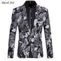 2017 High Quality Designer Men Blazer Heart Floral Single Button Wedding Blazer Fashion Slim Fit Mens Burgundy Blazer X16