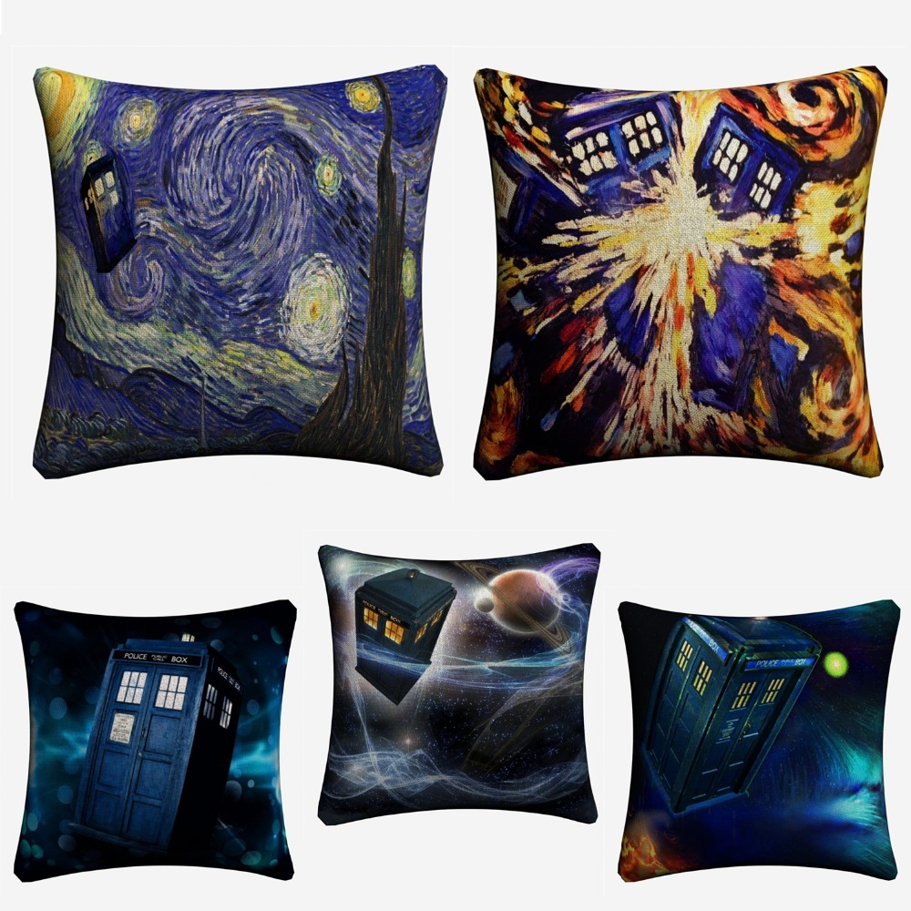 Home Textile Home & Garden Cooperative Doctor Who Starry Night Box Linen Cushion Cover 45x45cm Decorative Pillow Case For Sofa Home Decor Throw Pillow Covers Almofada