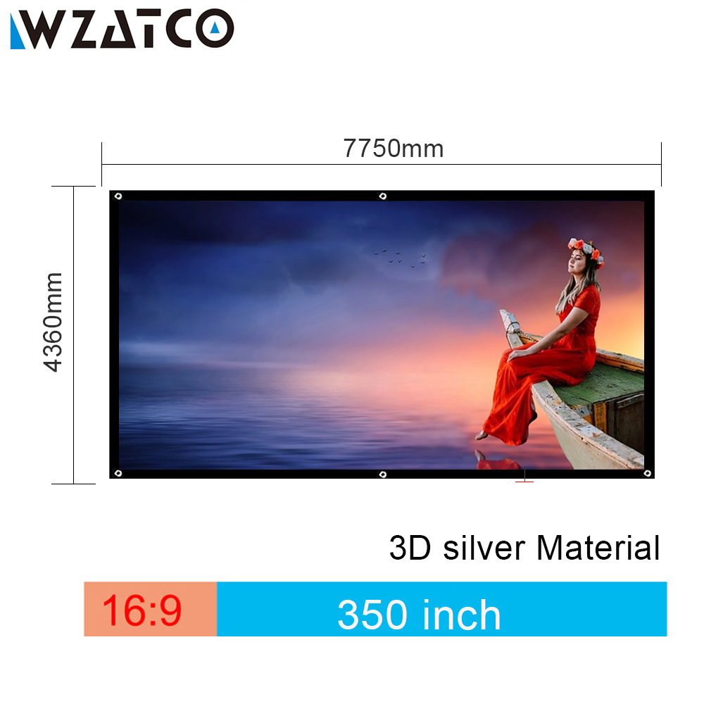 WZATCO Screen High-Quality Large Size Screen 350 inch 16:9 3D Silver Cinema Projection Screen Fabric For Home Theater Screen hot selling 84 inch 16 9 format fast quick fold projector screen for many size front and rear projection screen
