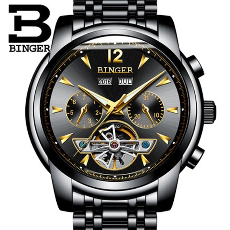 Genuine Luxury BINGER Brand Men Self-wind waterproof full steel automatic mechanical male Hollow Luminous fashion watch недорго, оригинальная цена