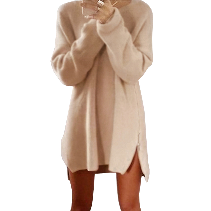 ROSASSY Women Autumn Winter Sweater Dress Long Sleeve Mini Dress Loose Casual Zipper Vestidos Knitting Dress Party Women's Dress