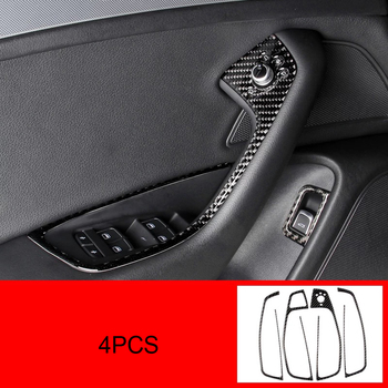 For Audi A6L A7 2013-2018 Carbon Fiber 4PCS Car Interior Door Window Lift Glass Switch Buttons Cover Moldings Car Styling фото
