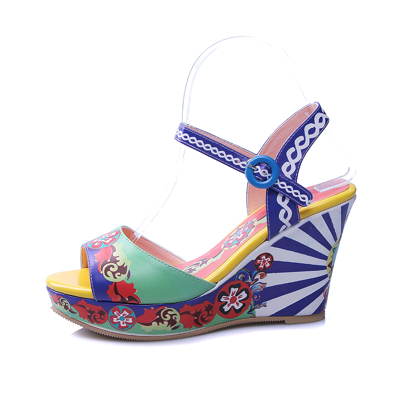 New 2018 Summer Woman Colorful Flower Printed Platform Wedge Sandal Sexy Open Toe Ankle Strap Shoes Gladiator Sandal 2017 summer newest colorful flower decorations wedge sandal sexy pvc patchwork open toe platform slippers