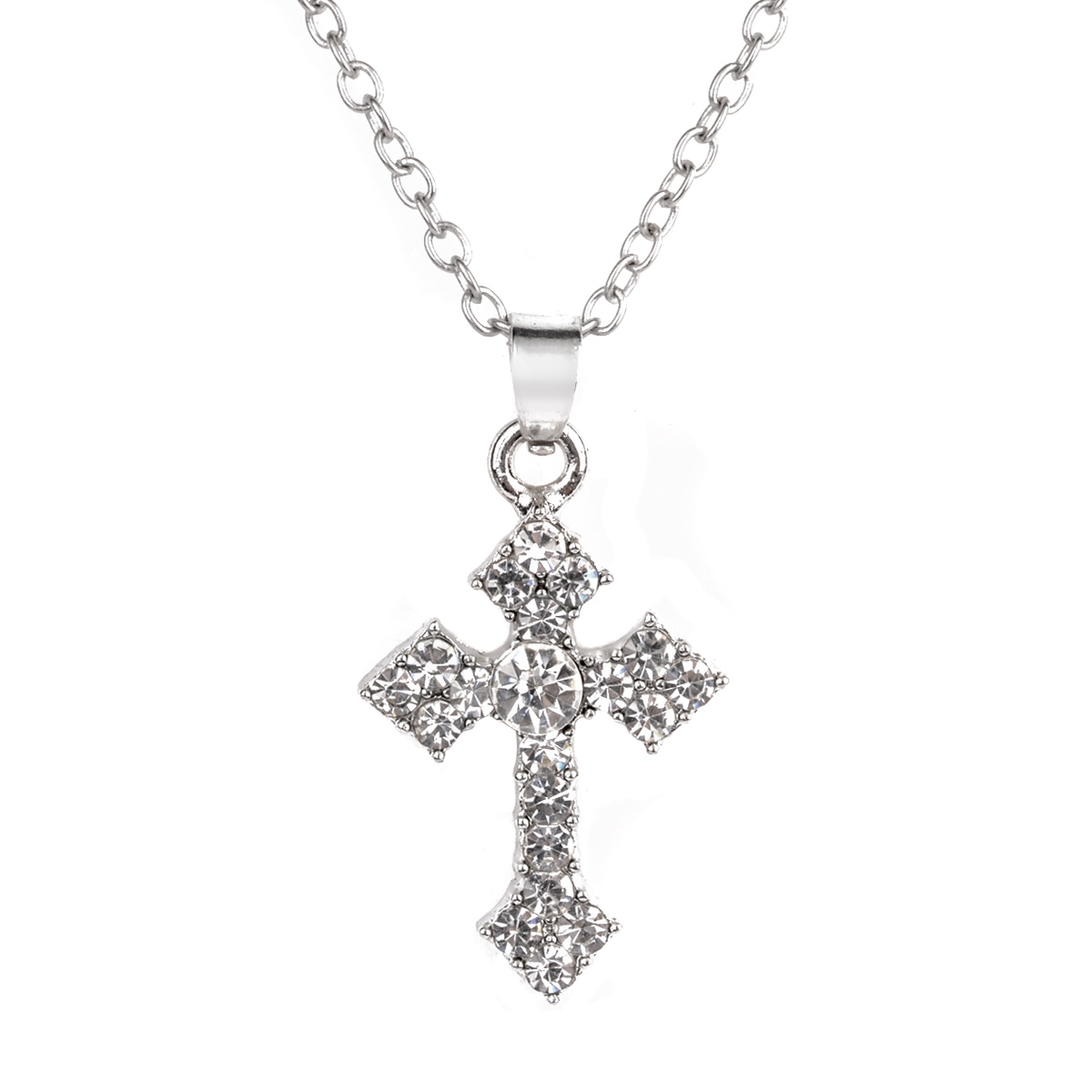 Vintage Silver Pated Chain Collares Statement Necklace Shellhard Crystal Rhinestone Cross Pendant Necklace For Women Jewelry