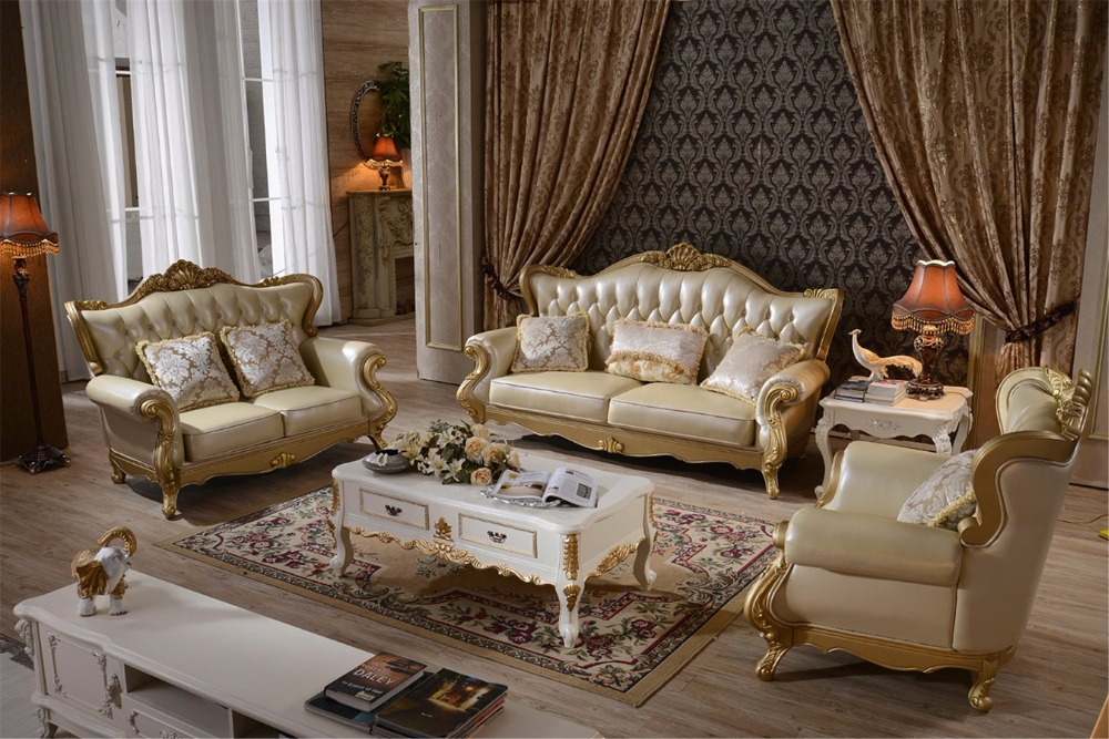 Living Room Muebles Bolsa Sectional European Style Baroque Furniture Leather Sofa Hot Sale Low