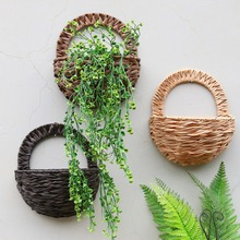 Get more info on the OOTDTY Eco-friendly Natural Flower Basket Wall Hanging Plant Pot Holder Planter Rattan Vase Decor