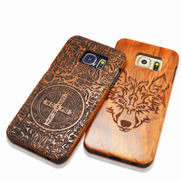 Retro Bamboo Wood Skull Carving Case For Galaxy S 4 5 6 6 Edge S7 Top