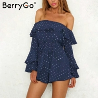 BerryGo Sexy off shoulder dot chiffon jumpsuit romper Flare long sleeve summer jumpsuit women Causul loose sash sweet playsuit