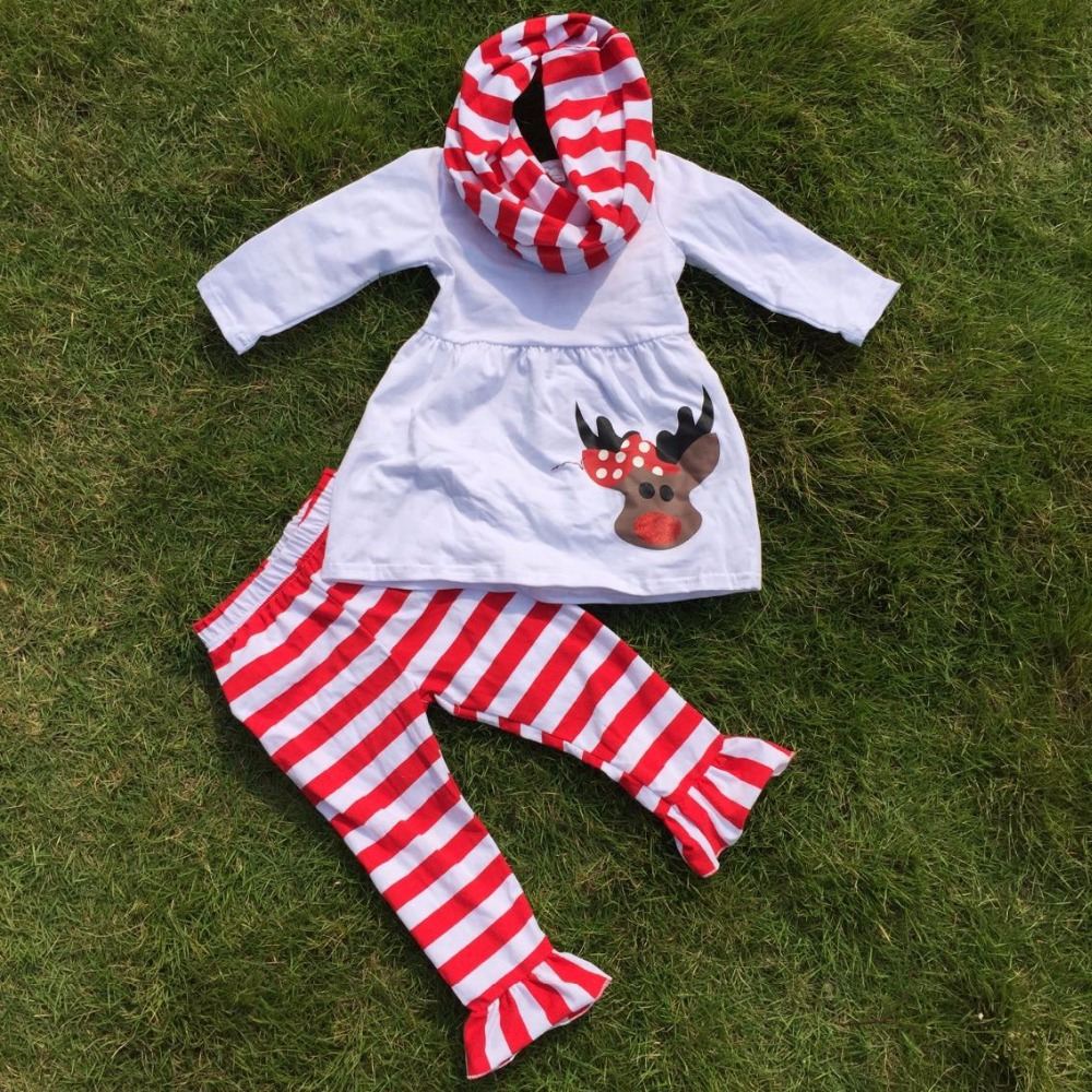 Christmas tree novelty christmas tree china http www gd wholesale com - Fall Outfits Girls Christmas Pant Sets 3 Pieces Scarf Sets Kids Reindeer Clothes Kids White Top