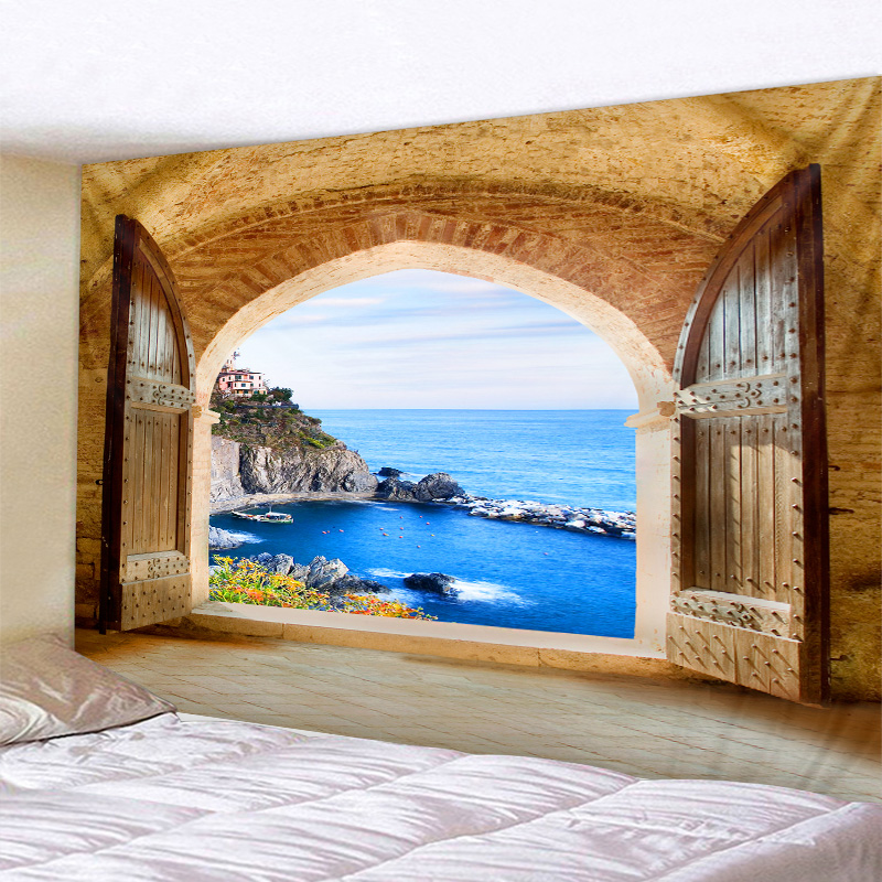 Beautiful Sea View Print Wall Hippie Tapestry Polyester Fabric Home Decor Wall Rug Carpets Hanging Big Couch Blanket