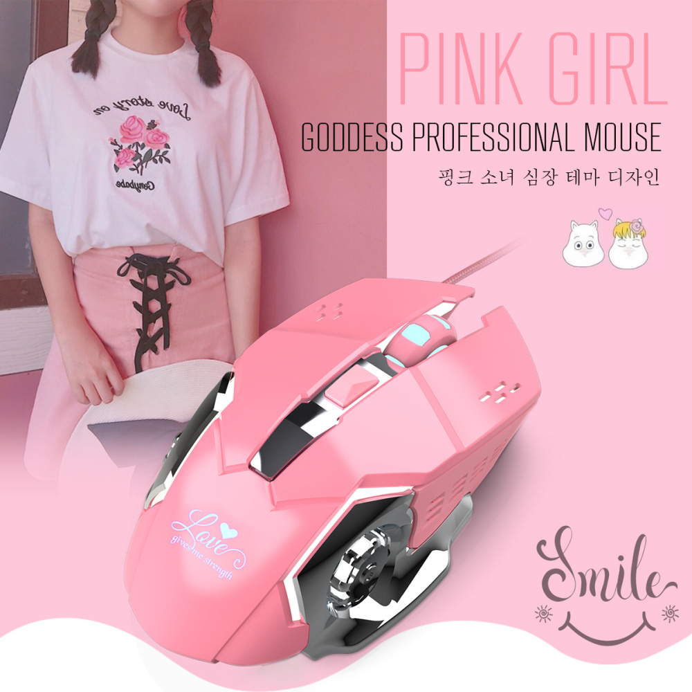 Image 5 - HXSJ new fashion wired mouse 3200DPI office mouse pink game suitable for notebook PC white backlight gaming mouse-in Mice from Computer & Office