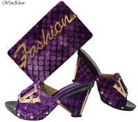 Wenzhan 2018 moda suave zapatos a juego bolsas púrpura material de muletón para diario uso dama, zapatos de tacón alto con el bolso B84-9