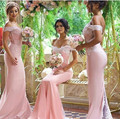 Hot Sale Vestidos de madrinha 2016 Elegant Short Sleeve Scoop Cap Sleeve Mermaid Appliques Chiffon Pink Bridesmaid dresses long