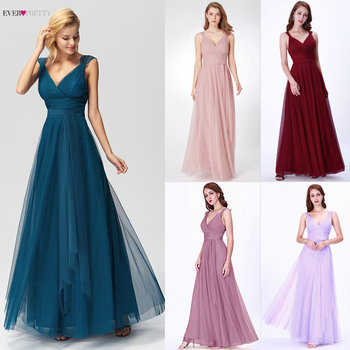Prom Long Elegant Dresses Ever Pretty EP07303 V-neck Sleeveless A-line Tulle Teal Prom Dresses 2020 Pink Sexy Vestido Formatura 2