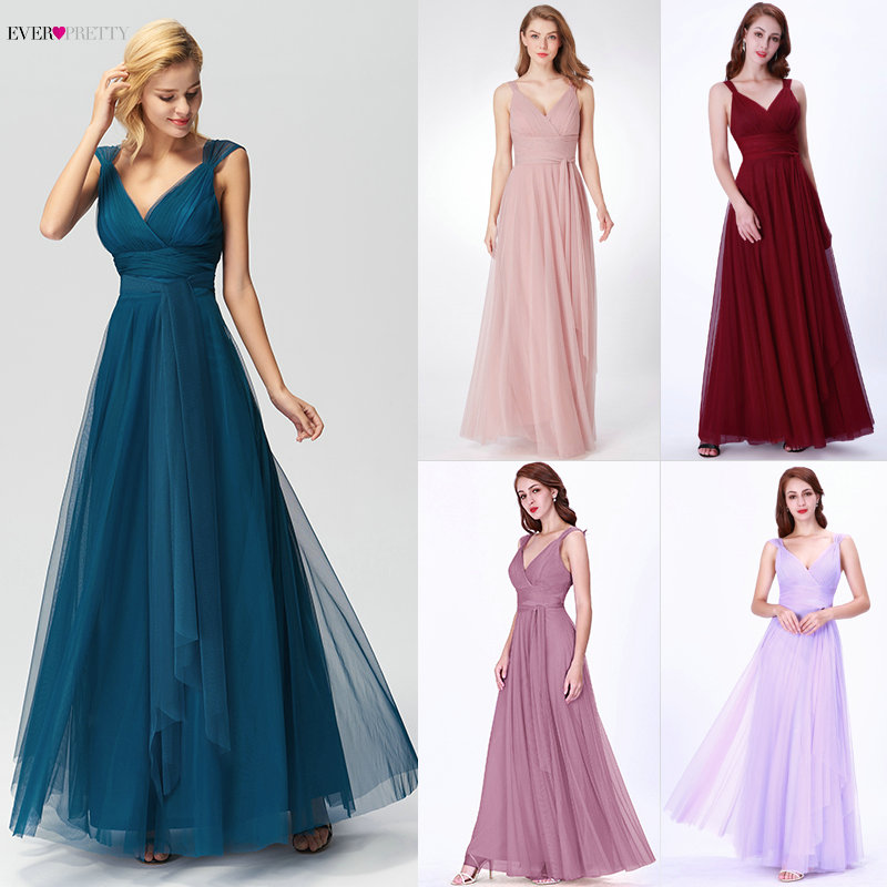 Prom Long Elegant Dresses Ever Pretty EP07303 V-neck Sleeveless A-line Tulle Teal Prom Dresses 2019 Pink Sexy Vestido Formatura