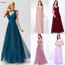 Prom Long Elegant Dresses Ever Pretty EP07303 V-neck Sleeveless A-line Tulle Teal 2019 Pink Sexy Vestido Formatura