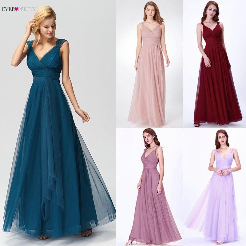 Robes de bal longues élégantes jamais jolies EP07303 col en v sans manches a-ligne Tulle sarcelle robes de bal 2019 rose Sexy Vestido Formatura