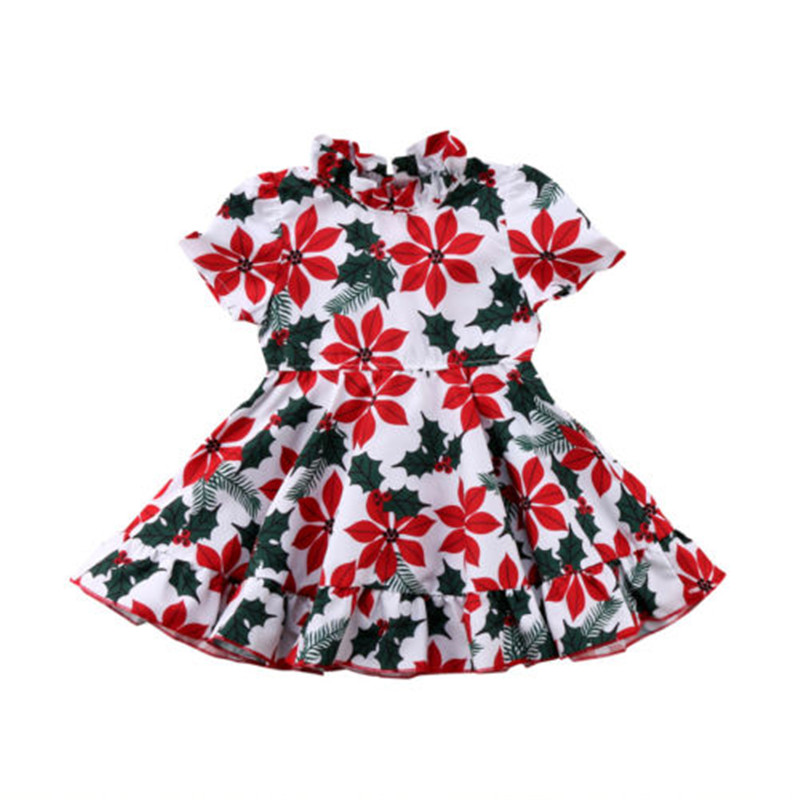 Newborn Toddler Sweet Kids Baby Girl Clothes Princess Floral Short Sleeve Cotton Tutu Dress Clothes Summer Children Clothing