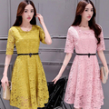 Retro Crew neck Solid Color Lace middle Sleeve Slim fit Middle Long A-line Dress Women Evening Party Package Hips OL Dresses