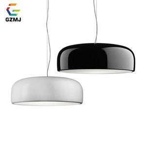 Image 1 - GZMJ Modern Metal LED Pendant Lights White/Black Nordic Brief LED Bedroom Hanging Lamp 90V 240V E27 Bulb Dining Room HangLamp