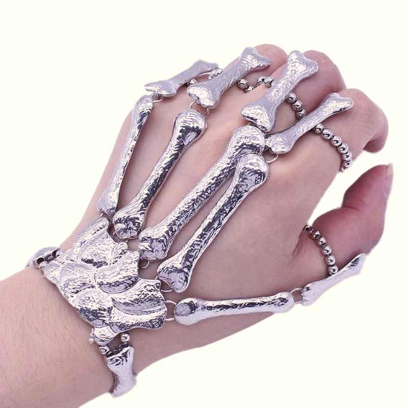 Party Decoration Hot Sales Halloween Props Nightclub Party Punk Finger Bracelet Skull Skeleton Bone Hand Finger Bracelet