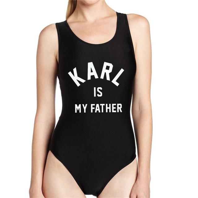 Verão 2016 Praia Playsuit Mais Recente Moda Letra Impressa KARL É MEU PAI Engraçado Mulheres Rompers Sexy Backless Macacões Elegantes