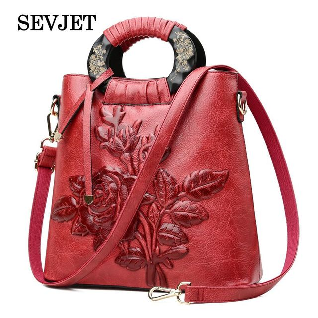 2018 Embroidery Floral Women Leather Handbag China Wind Women Messenger Bag  Ladies Solid Bolsas Tote Luxury Women Shoulder Bags cdca967a8093c