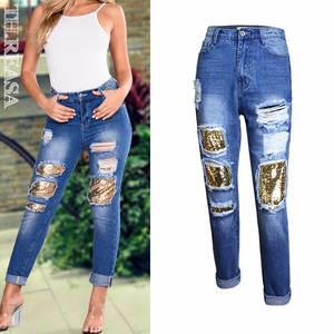 b7fbe7752a byoucosy Ripped Boyfriend Jeans High Waist Pants Denim