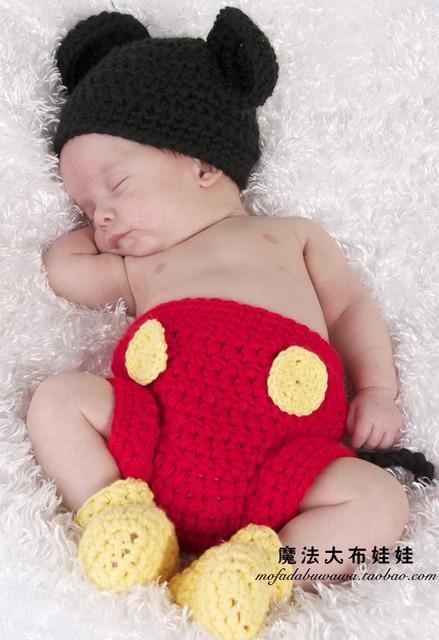 Baby Boy Newborn Baby Sweater Formal Dress Mickey Hat Yarn Shorts