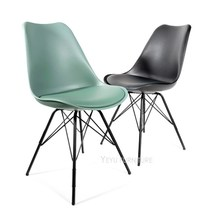Modern Design Plastic And Metal Steel Leg Padded Dining Chair, Popular Loft  Design Chair With