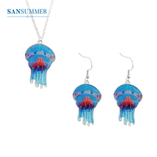 SANSUMMER Cute Necklace Womens Fashion Marine Animal Jellyfish Metal Elegant Delicate Jewelry Gift Girl 3349