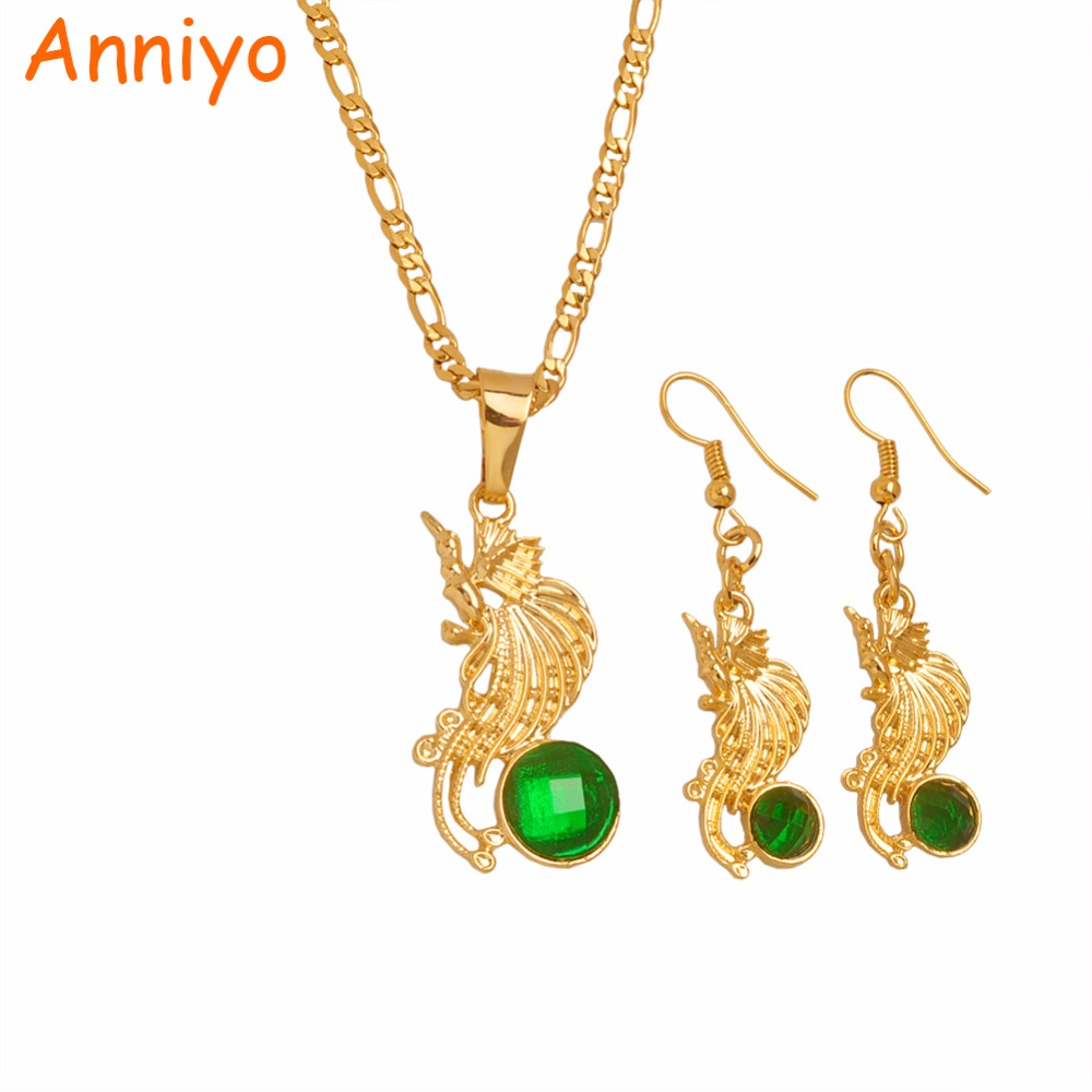 Anniyo gold color bird of paradise pendant chains and earrings sets anniyo gold color bird of paradise pendant chains and earrings sets for womenpapua new guinea jewellery png style gifts 097506 in jewelry sets from aloadofball Image collections