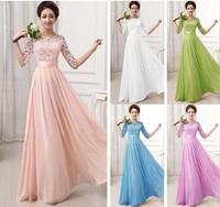 2017 New Plus Size Top Fashion Vestidos De Fiesta Elegant Lace Chiffon Long Formal Dress Gown Wedding Party Dresses S M L XL XXL