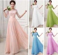 New Plus Size Top Fashion Vestidos De Fiesta Elegant Lace Chiffon Long Formal Dress Gown Wedding Party Dresses S M L XL XXL
