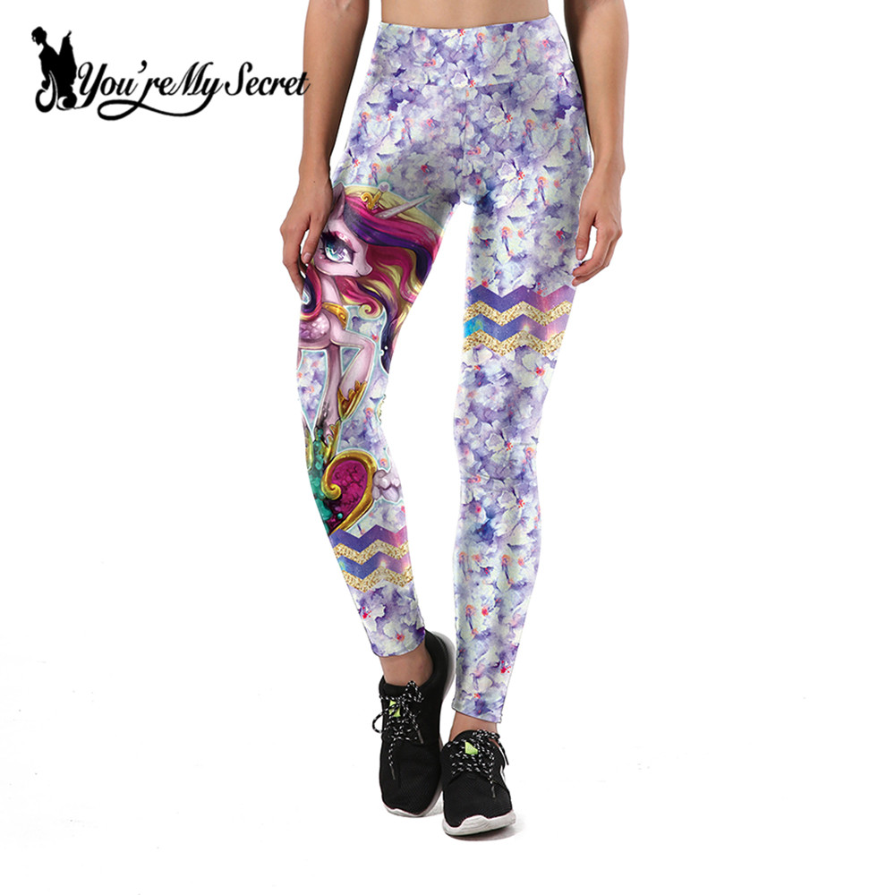 [Youre My Secret] 2017 Women Leggings Unicorn And Flower Printing Leggins Sexy High Waist Legging Fitness Pants