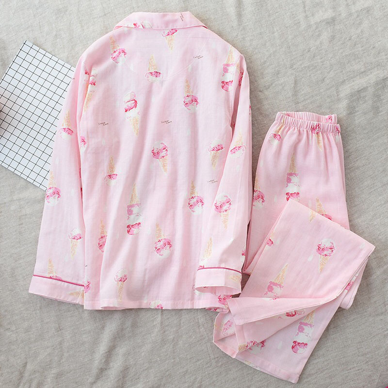Image 4 - 2019 New Women Pajamas Set Ice Cream Printed 100% Gauze Cotton Ladies Sleepwear Two Piece Set Turn down Collar Household Clothes-in Pajama Sets from Underwear & Sleepwears