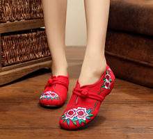 2016 New Arrival Promotion Canvas T-strap Chinese Flower Embroidery Shoes Round Toe Cow Muscle Casual Flats SMYXHX-B0003