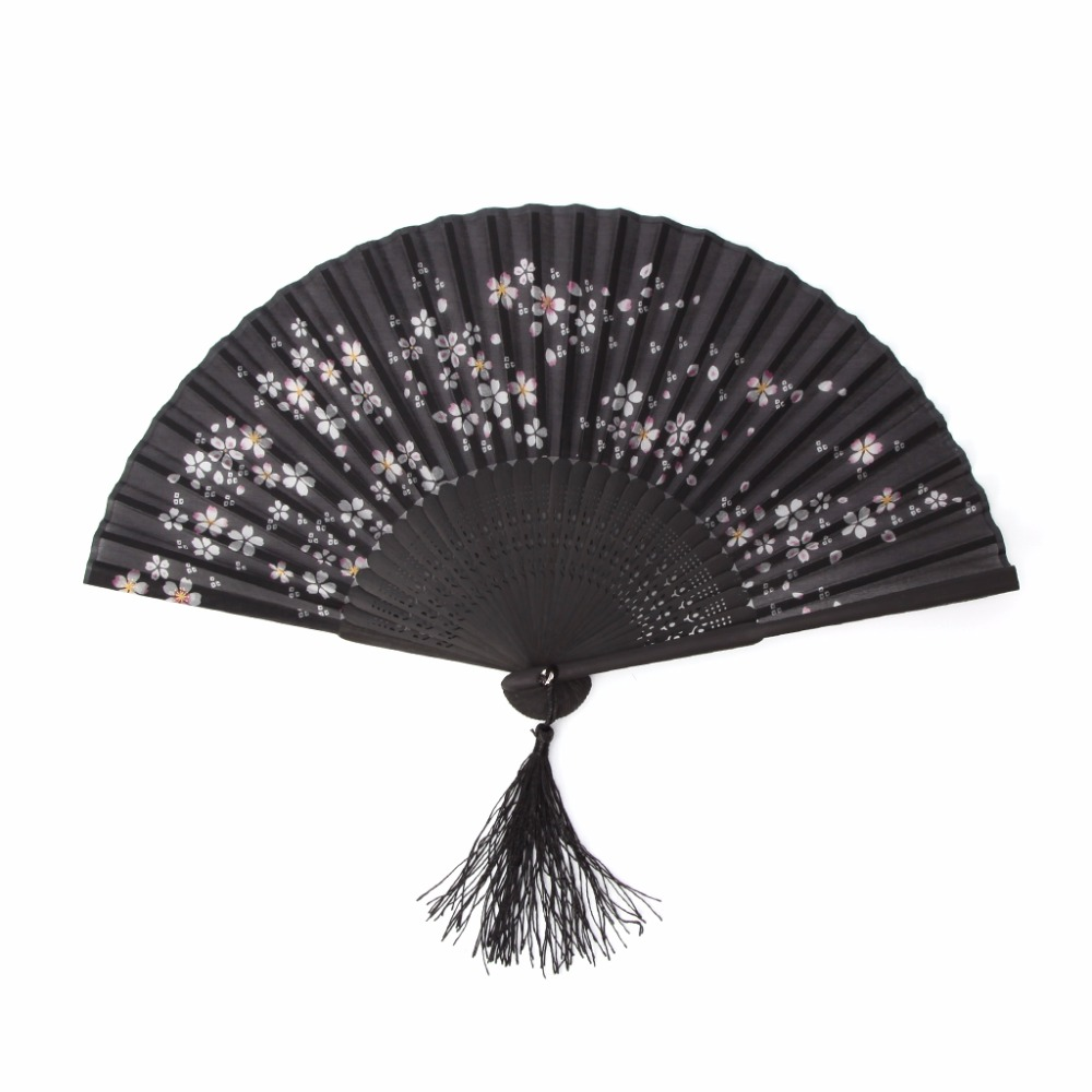 Chinese Style Hand Held Folding Silk Fan For Wedding Event And Party Supplies