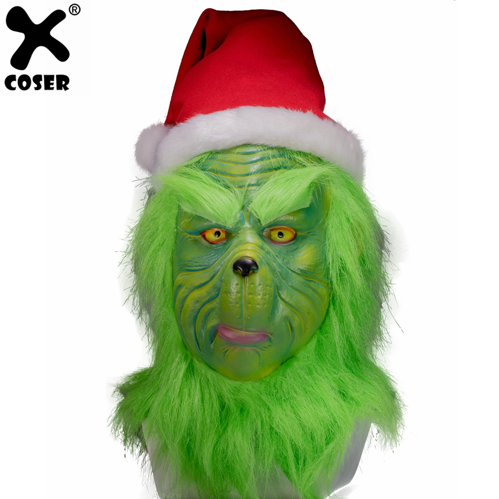 The Grinch That Stole Christmas.Us 51 35 35 Off Xcoser How The Grinch Stole Christmas Grinch Mask High Quality Green Latex Party Cosplay Mask With A Hat Christmas Accessory In