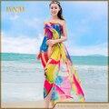 2016 New Plus Size Women Sexy Long Chiffon Beach Sarong Wrap Scarf Pareo Big Flower Shawl