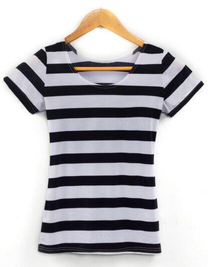 88c1c4168f099 X 091 à tricoter est nouveau 2017 rayures zébrées verticales imprimé femmes  t shirt été noir blanc rayures horizontales punk top sexy dans T-Shirts de  Mode ...