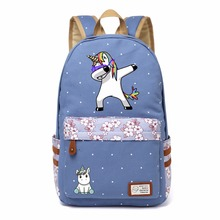 Funny Unicorn Printed Canvas Backpack