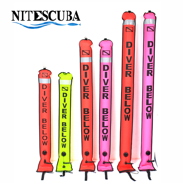 NiteScuba SMB Diving accessories Surface Marker Buoy Safety sausage Signal Float Inflatable Tube reel Underwater Photography