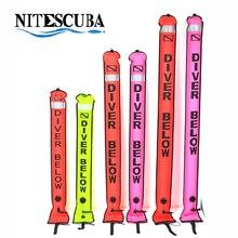 NiteScuba SMB อุปกรณ์ดำน้ำ Surface Marker Buoy ความปลอดภัยไส้กรอกสัญญาณ Float Inflatable Tube reel ถ่ายภาพใต้น้ำ