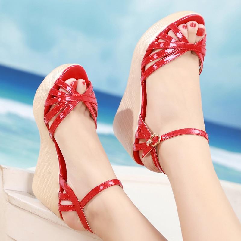 Heels Sandals Platform-Shoes Women Wedges Black Silver Crystal-Buckle Shoe Woman Open-Toe